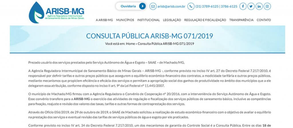 CONSULTA PÚBLICA ARISB-MG 071-2017 - SAAE MACHADO
