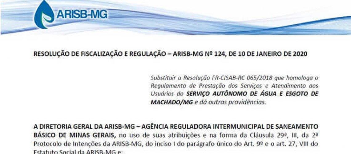 RESOLUÇÃO DE FISCALIZAÇÃO E REGULAÇÃO – ARISB-MG Nº 124 - SAAE MACHADO